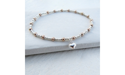 Non-personalised Duo Ball Bracelet - SS Mini Heart
