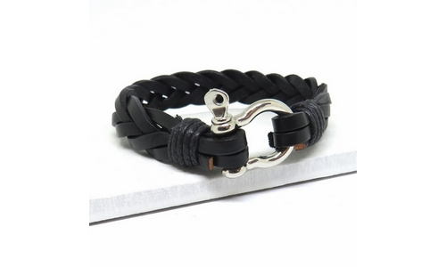 Non-personalised Leather Shackles Clasp Bracelet