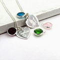 Personalised Script Necklace - SS Heart - Birthstone