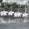 Set Of 4 Personalised Polar Bear Decorations