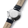 Personalised Modern-Vintage Leather Watch in Navy and Silver