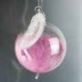 Personalised Pink Feather Glass Baubles