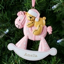 Personalised Pink Rocking Horse Resin Tree Decoration