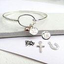 Personalised Clarendon Loop Bangle - SP Mini Disc & SS Mini Charm
