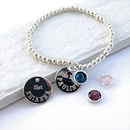 Personalised Duchess Stacking Ball Bracelet - SP Disc - Birthstone