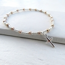 Duo Ball Bracelet - SS Mini Cross