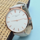Personalised Modern-Vintage Leather Watch in Stone